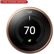 Nest T3021US Learning Thermostat 3rd Gen (Copper) + 1 Year Extended Warranty