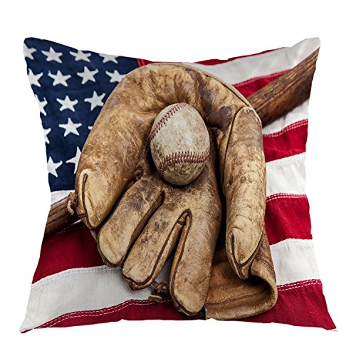 oFloral American Flag Throw Pillow Covers with Baseball Glove Retro Home Decorative Pillow Case Square Cushion Cover for Sofa Bed Chair Couch Decoration 18 x 18 Inch Brown Blue White Red