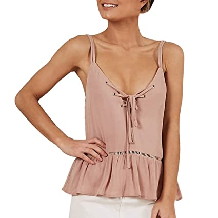a6c93da561242a Amazon.com - Women s Summer Sleeveless Criss Cross Ruffle Casual Tank Tops  Basic Lace up Blouse (Pink