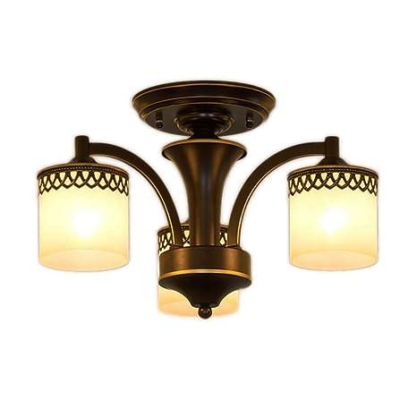 Zheng Hui Shop Lámpara de Techo de Hierro Forjado Negro ...