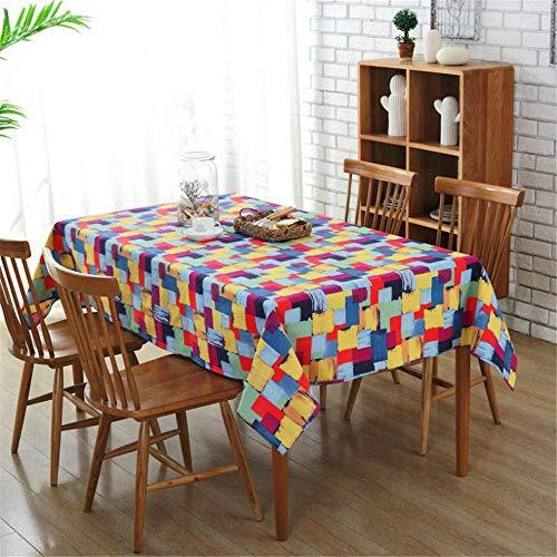 Colored Squares Tablecloth Cotton Canvas Home Party Decorations tablecloths A01 100x140cm