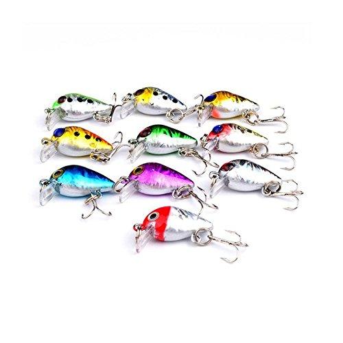 10pcs//lot Mini Fishing Lures 10 Colors Fishing Bait 1.6g Fishing Tackle 10# W1N2