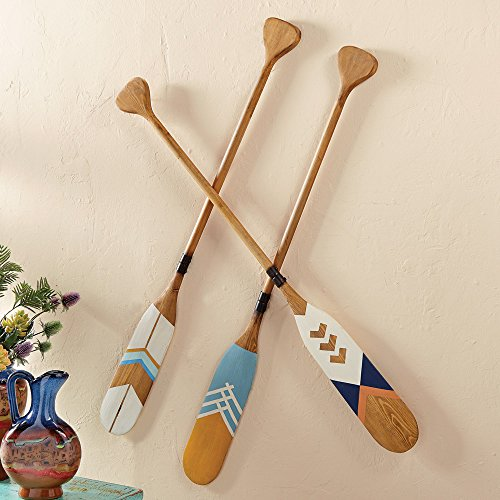 - Black Forest Decor Wood Decorative Canoe Paddles (Set of 3)