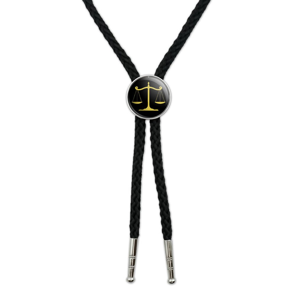 Balanced Scales of Justice Symbol Legal Lawyer Gold and Black Western Southwest Cowboy Necktie Bow Bolo Tie Graphics and More BOLOTIE.PL.0446