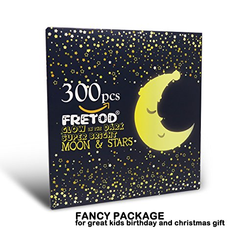 Glow in The Dark Moon and Stars - 300PCS - 9.4'' Large Moon and Various Size Fluorescent Stars for Ceiling Decoration in Kids Room by FRETOD (Image #6)