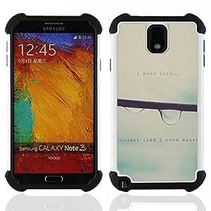 Dragon Case- Dise?¡Ào de doble capa pata de cabra Tuff Impacto Armor h??brido de goma suave de silicona cubierta d FOR Samsung Galaxy Note3 N9000 N9008V N9009- RAIN SPRING RAINDROP TEXT GREY MIST FALLING