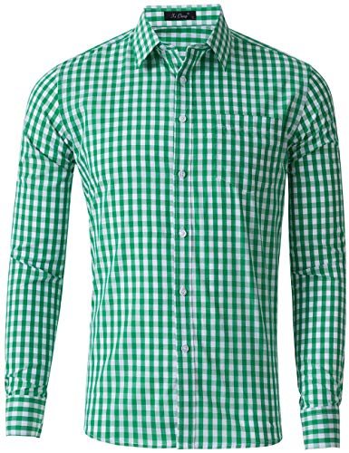 XI PENG Men's Slim Fit Plaid Checkered Gingham Long Sleeve Dress Shirts (Green Check, Large)
