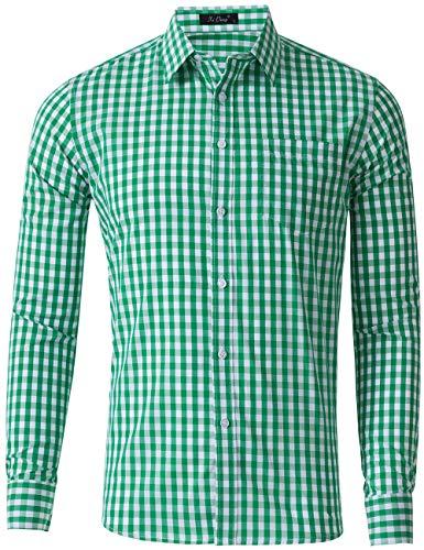 XI PENG Men's Slim Fit Plaid Checkered Gingham Long Sleeve Dress Shirts (Green Check, ()
