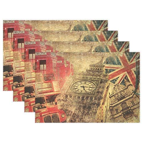 Vintage London Union Jack Big Ben Car Placemat Table Mat Polyter Table Place Mat for Kitchen Dining Room Set of -