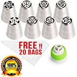 Russian Piping Tips For Cupcakes Decoration 29-Pcs Set (8 Russian Tips 20 ...