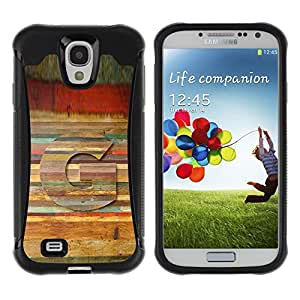 "Pulsar iFace Series Tpu silicona Carcasa Funda Case para Samsung Galaxy S4 IV I9500 , Carta del patrón de madera Líneas Símbolo"""