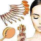 Lospu HY 10 Pieces Oval Makeup Brush Set Professional Foundation Concealer ...