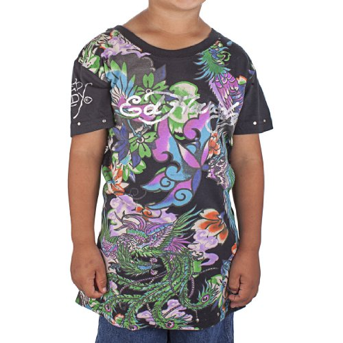 Ed Hardy Big Girls' Koi T-Shirt - Black - Large ()