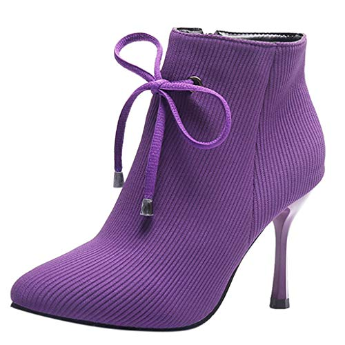 Women's Short Plush Warm Shoes, NDGDA Side Zipper Bow Ankle Boots Stiletto Heel Boots (Purple, -