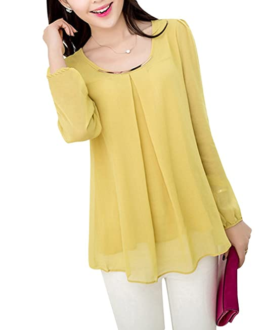 Camisas Blusas Cuello Redondo para Mujer Manga Larga Gasa Color Sólido Tops Amarillo S