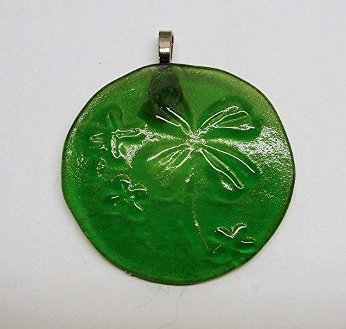 Moss Green Four Leaf Clover Handmade Upcycled Bottle Bottom Shamrock Sun Catcher Ornament