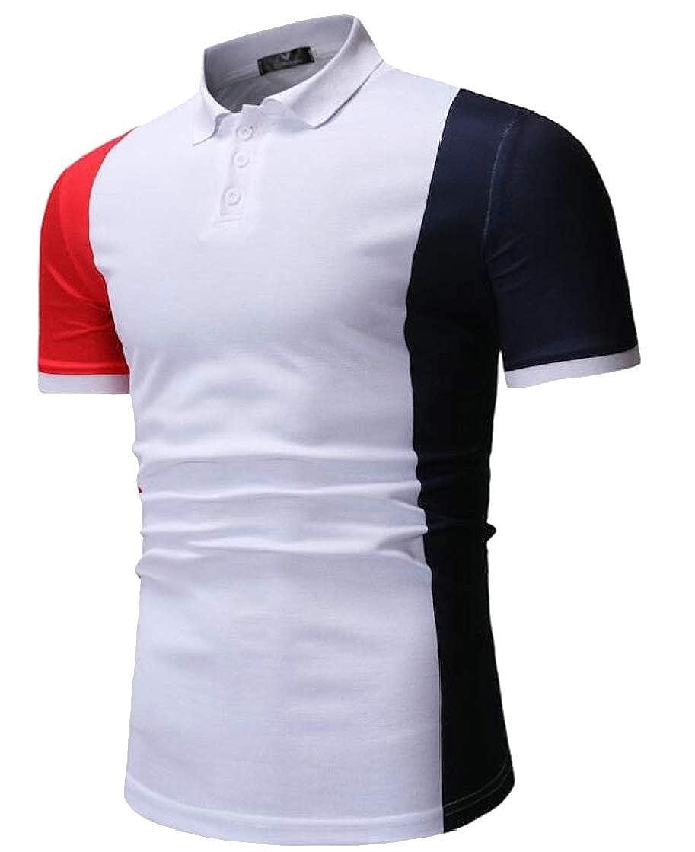 Macondoo Mens Business Lapel Neck Short Sleeve Polo-Shirts Contrast Color T-Shirts