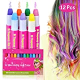Hair Chalks - 12 Pack Girls Gifts Temporary Hair Chalk Pens Washes Out Easily With No Mess - Best Birthday Christmas Gifts for Girls Boys - 85 Applications Per Chalk Pen (12 Vibrant Colors Included)