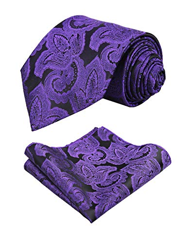 Floral Pattern Necktie - Alizeal Mens Solid Floral Pattern Necktie and Hanky Set, Dark Purple