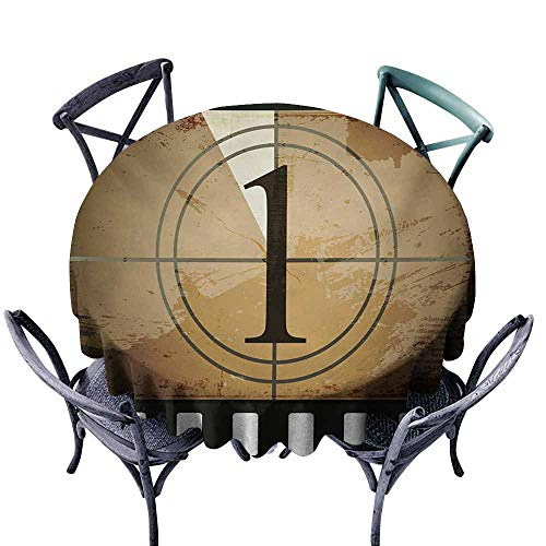VIVIDX Round Tablecloth,Movie Theater,Grunge Countdown Frame with The Number 1 in a Circle Film Strip,Table Cover for Kitchen Dinning Tabletop Decoratio,67 INCH,Pale Brown Black White
