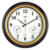 BEW Large Outdoor Clocks, 18 Inch Thermometer & Hygrometer Combo Waterproof Wall Clock, Silent Accurate Decorative Garden Clock for Patio/Pool/Lanai/Fence/Home (Metal, Black-Gold)