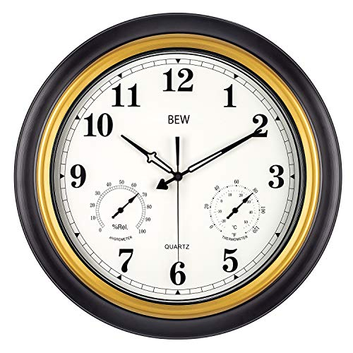 BEW Large Outdoor Clocks, 18 Inch Thermometer & Hygrometer Combo Waterproof Wall Clock, Silent Accurate Decorative Garden Clock for Patio/Pool/Lanai/Fence/Home (Metal, Black-Gold) (Thermometer Outdoor And Clock Set Decorative)