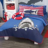BEST SELLER PACIFIC TEAM SHARK BOYS REVERSIBLE COMFORTER,SHAMS,DECORATIVE TOSSPILLOWS,FLAT SHEET,FITTED SHEET,PILLOWCASES AND WINDOWS PANELS 13 PCS FULL SIZE