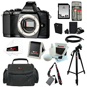 Olympus OM-D E-M5 16MP Live MOS Interchangeable Lens Camera Body (Black) + BLN-1 Battery + 9pc Bundle 16GB Deluxe Accessory Kit