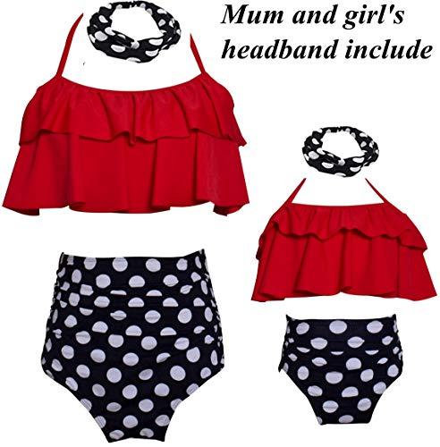 Matching Swimsuit Ruffle Women Swimwear Toddler Children Bikini Bathing Suit Beachwear Sets Size 7-8 Years