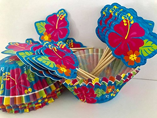 Luau Flower Cupcake Picks with Baking Cups Cake Party Supplies 48 Ct