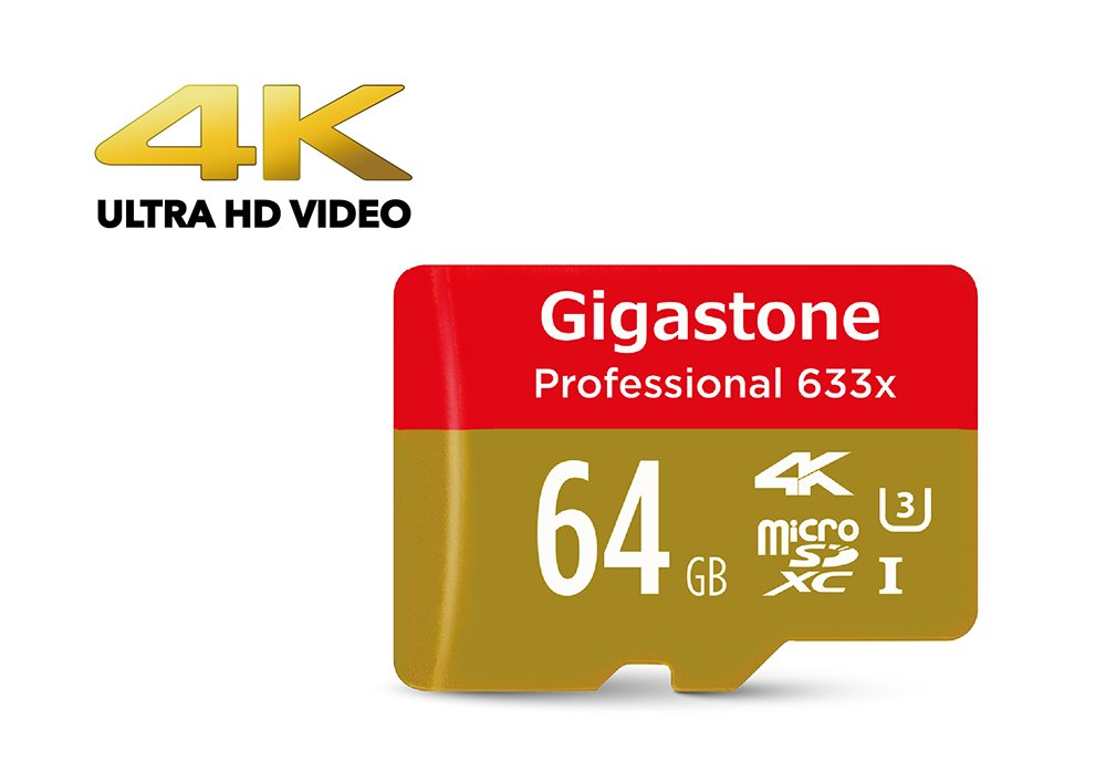 [4K Ultra HD] Gigastone Pro 64GB Micro SD Card U3 up to 95MB/s Memory + SD Card Adapter, Drone, Action camera, Dashcam