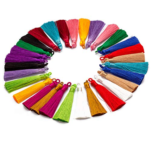 Forise 30pcs Tassels Mix 15 Style Fashion Soft Silky Elegant Tassels Fit for Jewelry Making DIY Crafts Accessories