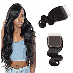 10A Brazilian Virgin Hair Boby Wave 4x4 Free Part Lace Closure 100% Unprocessed Human Hair Natural Black (Free part 14inch)
