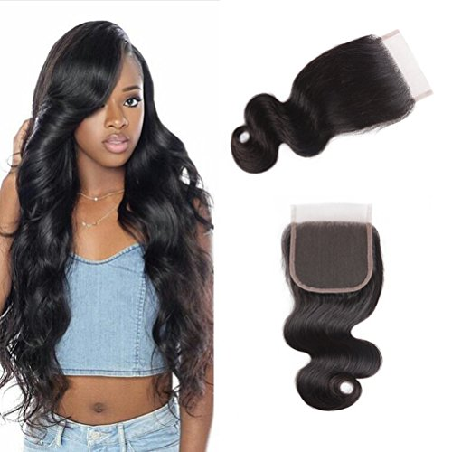 100 Human Hair Lace (Brazilian Virgin Hair Boby Wave 4x4 Free Part Lace Closure 100% Unprocesed Human Hair Closures Natural Black 16 inch (4X4 16