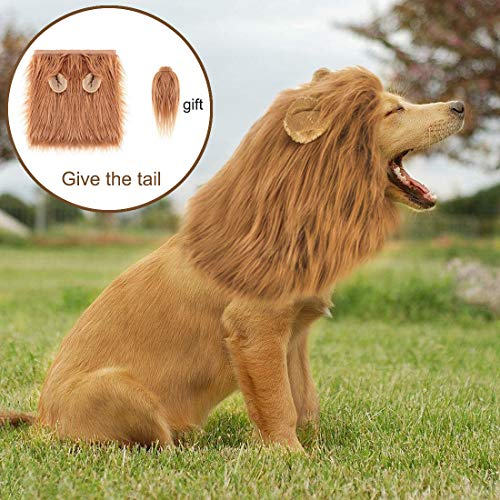 starroad-tim Dog Lion Mane Costume Pet Lion Wig for Comfortable Funny Lion Mane Wig Hair Party Holiday Costume Clothes Fancy Dress Lion Wig Perfect for Medium and Large Dogs (Brown)]()