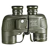 QUNSE® Military Navigation HD Binoculars - Compass and Rangefinder - 10x50 Large Object Lens Large View - BAK4 Prism System - Waterproof and Fog Resistant - with Harness Strap