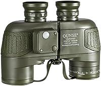 QUNSE® Professionale Binocolo Telescopio con Militare Bussola Nautica - Misurazione della Distanza con Bussola - 10x50 Grande Lente Obiettivo per Campo Largo - Sistema a Prisma BAK4 - Spallacci di Configurazione