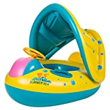 Besde swimming Ring Sunshade float Boat Baby Kids Toddler Raft (Yellow)
