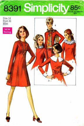 (Simplicity 8391 Sewing Pattern Misses Aline Mod Dress Size 14 - Bust 36)