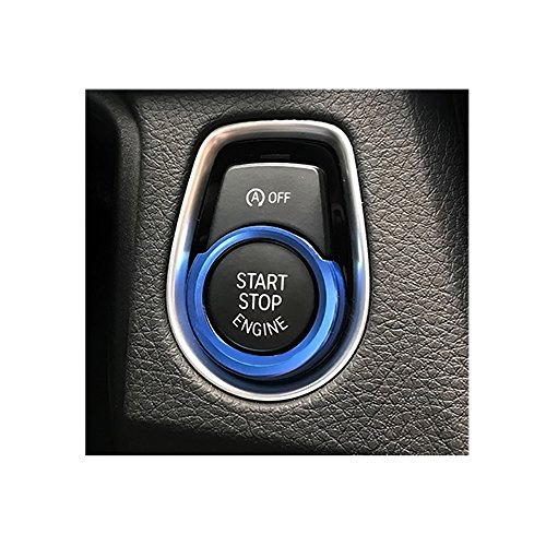 Thor-Inst 1 PC Start Stop Button Ring Push Button Ignition Switch Decor Frame Cover Trim Sticker for BMW 1 2 3/GT3 4 New X1 Series F30 316i 320i 328i F20 116i 118i (Blue)