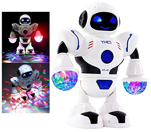 (Dinnx Robot Toy for Kids - Dancing Walking Robot, Plays Music, Colorful Flashing Light, Electric Battery Operated, Kids Boys Girls Toddlers, Birthday Gift Fun Toy Figure)