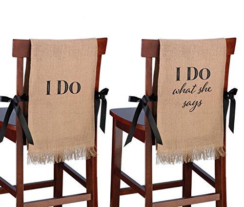 Lillian Rose I Do Rustic Burlap Wedding Chair Covers Decor