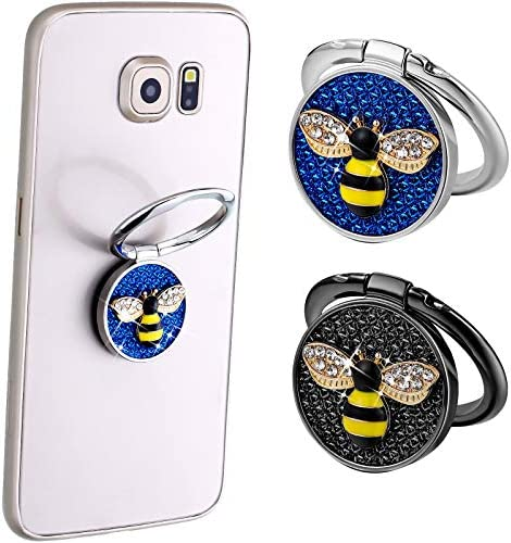 Cell Phone Ring Holder with Crystal Stone Enamel Bee Phone Ring Holder Finger Kickstand Compatible with Most Smartphones Mobile Cute Decor Beauty Phone (Black, Blue)