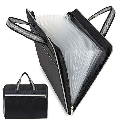 Waterproof Canvas Expandable File Folders Handbag Portable 13 Pockets A4 Size Business Accordion Document File Organizer Storage Bag with Zipper Closure Handles (Black)