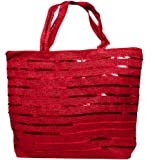Ladies Straw Summer Red Beach Bag / Hobo Chic Tote with Sequence