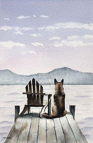 (German Shepherd - Patiently Waiting - Art Print by Watercolor Artist DJ Rogers)