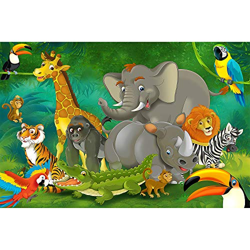 GREAT ART Jungle Animals Wall Mural - Kid's Room Decoration Boys and Girls Nursery- Zoo Safari Adventure Wallpaper Tiger Lion Monkey (132.3 x 93.7 Inch / 336 x 238 Centimeter) ()