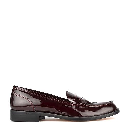 Elia B Shoes - Mocasines de cuero para mujer rojo granate, color rojo, talla 35: Amazon.es: Zapatos y complementos