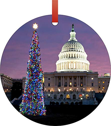 Jacks Outlet The United States Capitol in Washington D.C. on Christmas Eve Round Shaped Flat Aluminum Semigloss Christmas Ornament Tree Decoration - Novelty Tree Décor Favors (Best Outlets In Washington Dc)