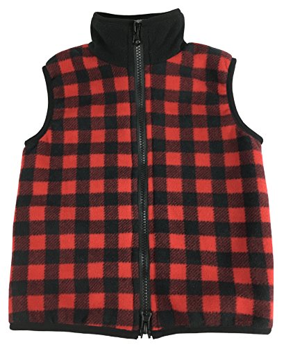 N'Ice Little Boys and Baby Sherpa Lined Buffalo Plaid Fleece Outerwear Vest (12-18 Months, Red Buffalo Plaid) (Size 12 Youth Snow Pants)